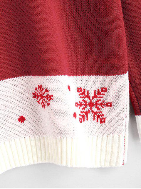women's Snowflakes Contrasting Christmas Sweater - RED S Mobile