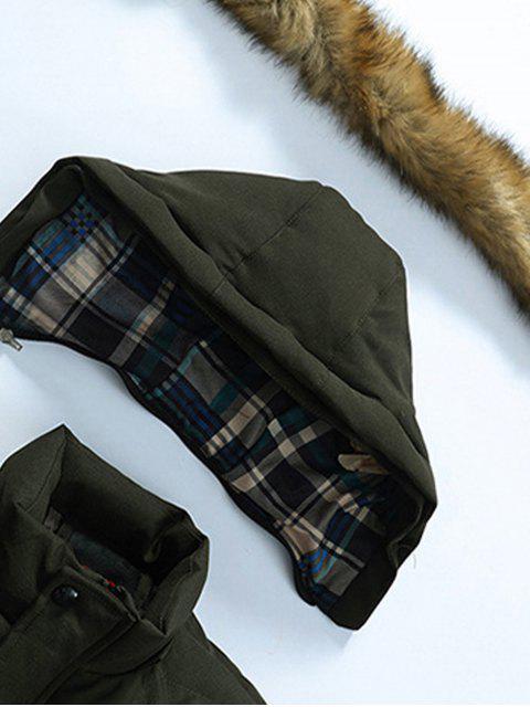 fashion Faux Fur Trim Winter Hooded Coat - BLACK XL Mobile