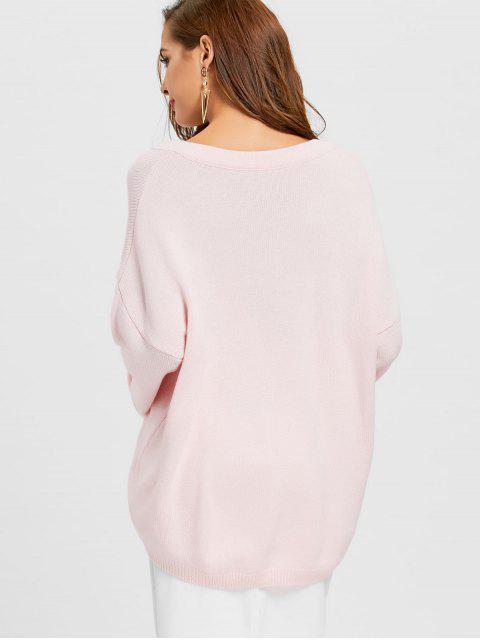 chic Plain V Neck Oversized Sweater - LIGHT PINK ONE SIZE Mobile
