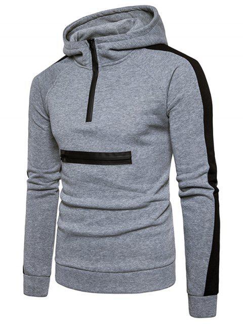 best Color Block Panel Zippers Fleece Pullover Hoodie - LIGHT GRAY M Mobile