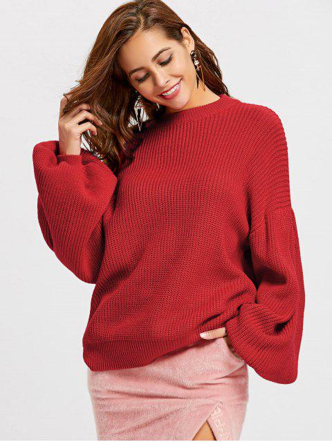 fashion Crew Neck Lantern Sleeve Oversized Sweater - RED S Mobile