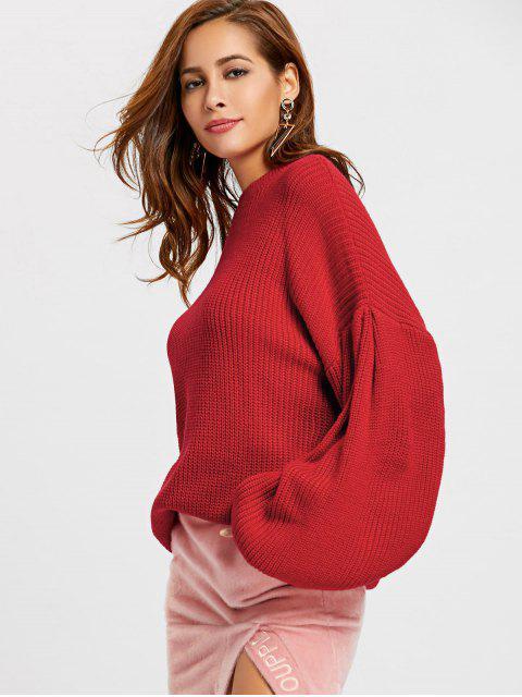 Rundhalsausschnitt Lantern Ärmel Übergroße Pullover - Rot S Mobile