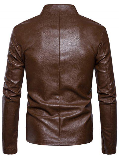 women's Stand Collar Embellished Faux Leather Zip Up Jacket - BROWN S Mobile