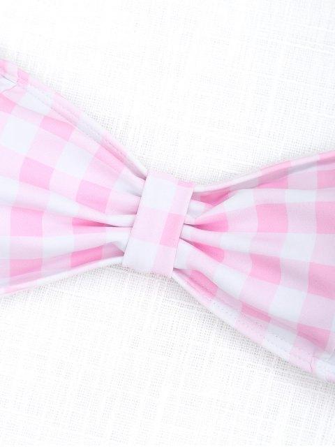 Braguitas de bikini de tacón alto de corte alto de tartán - Rosa y Blanco S Mobile
