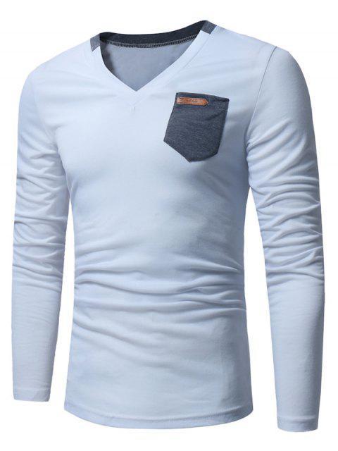 T-shirt Longues Manches à Encolure en V et Embellie de Poches - Blanc 2XL Mobile