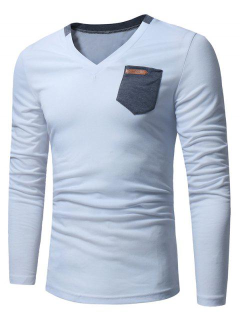 V-Ausschnitt Tasche verziert Langarm-T-Shirt - Weiß XL  Mobile
