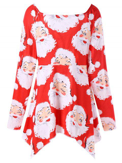 chic Plus Size Santa Claus Print Christmas T-shirt - RED 3XL Mobile