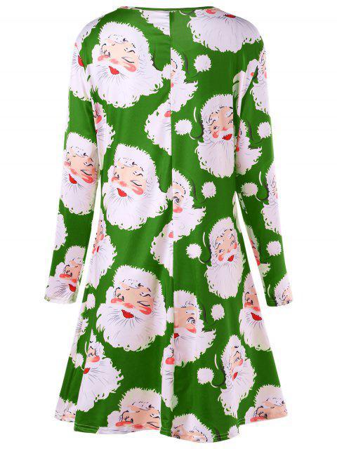 Vestido mini estampado con estampado de Santa Claus Plus Size - Verde XL Mobile