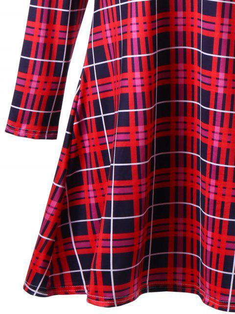 Vestido de oscilación con estampado de alces en tamaño plaid de Navidad Plus Size - Rojo 2XL Mobile