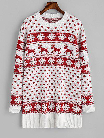 Suéter De Natal Com Alce E Coração - Vermelho E Branco S