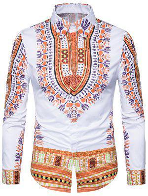 Ethno-Stil Dashiki Print Langarm-Shirt