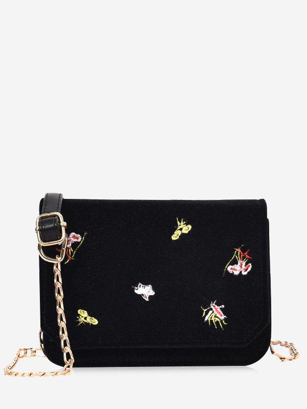 Chain Embroidery Flowers Crossbody Bag