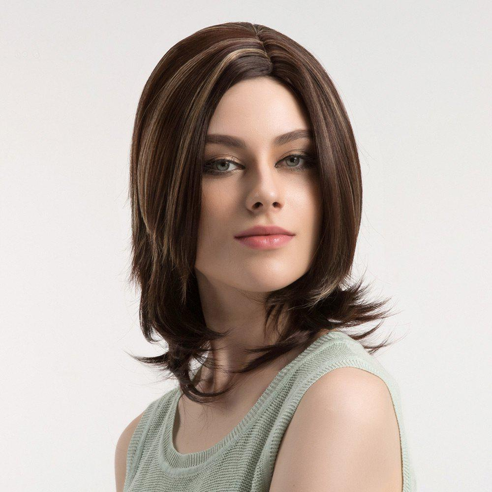Medium Side Parting Colormix Layered Straight Synthetic Wig 235134601