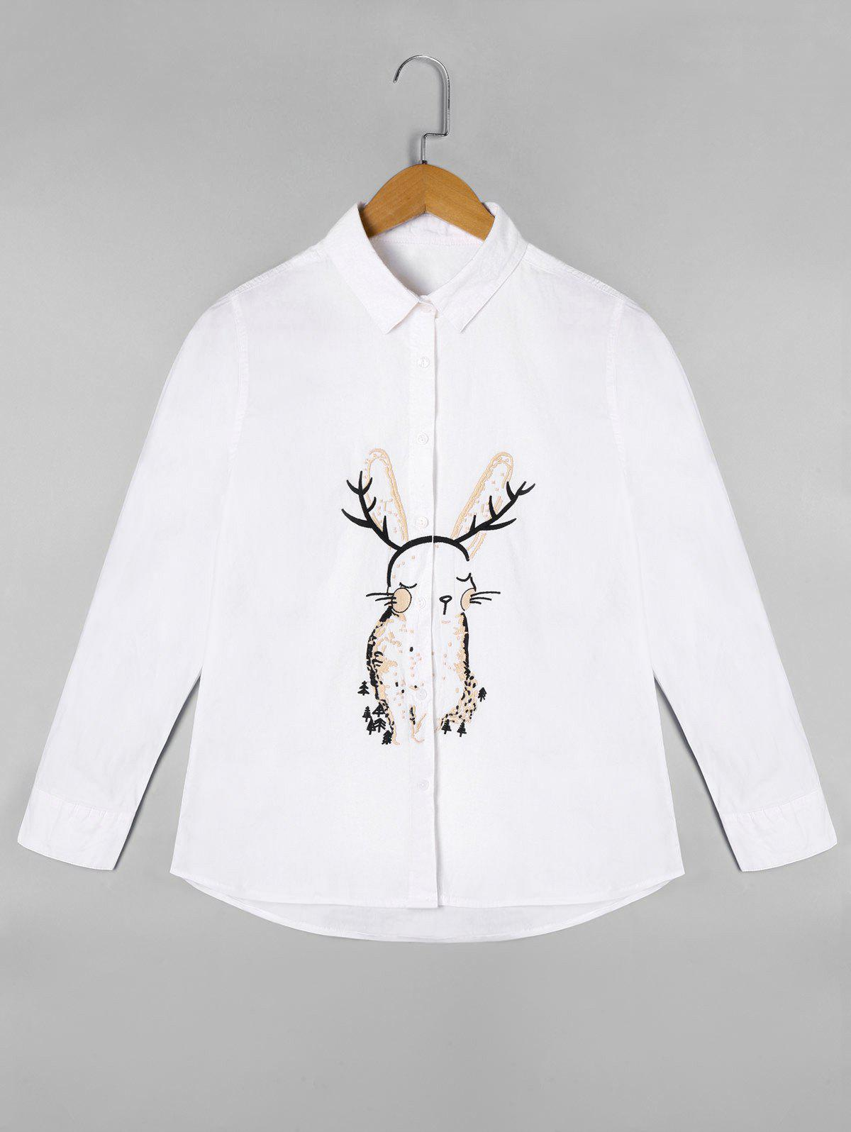 Cartoon Embroidered Long Sleeve Shirt