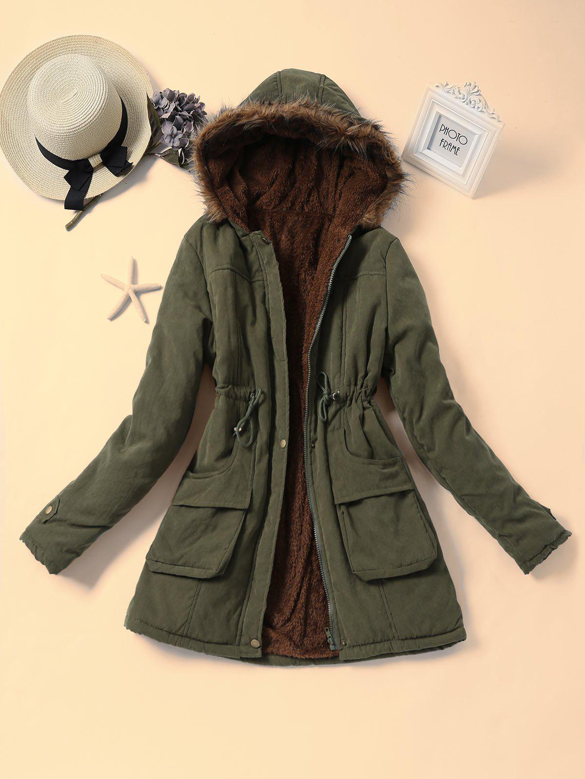 Faux Fur Collar Drawstring Parka Coat 234861101