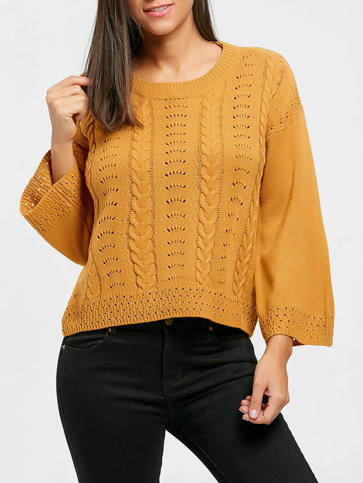 Crew Neck Hollow Out Cable Knit Sweater 232954802