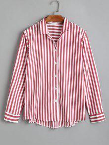 Camisa De Rayas Con Botones Hasta Arriba - Rojo M