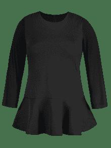 Long Sleeve Plus Size Peplum Top BLACK: Plus Size T-shirts 4XL   ZAFUL