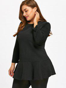long sleeve plus size peplum top black: plus size t-shirts 4xl | zaful