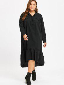 Robe à Taille Haute Et à Volants - Noir 2xl