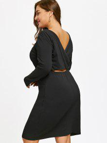 فستان الحجم الكبير ذو فتحات - أسود 4xl