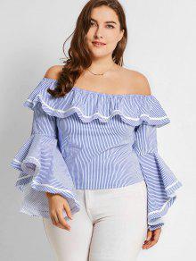 Blusas De Tamanho Grande Flounces Off Shoulder Stripes - Listras Xl