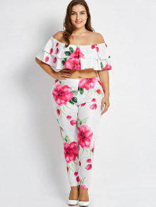 da0cd60c15e10 35% OFF  2019 Plus Size Tube Off Shoulder Top And Floral Pants In ...