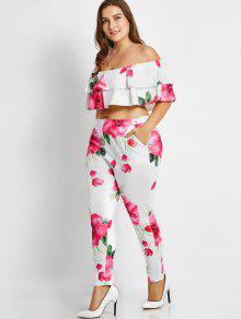 Talla Grande Con Hombros Descubiertos Y Pantalones Florales - Floral Xl