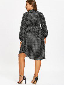 ee3f001f759 26% OFF  2019 Drawstring Grid Plus Size Shirt Dress In BLACK