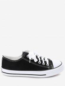 Stitching Lace Up Zapatillas De Lona - Negro 43