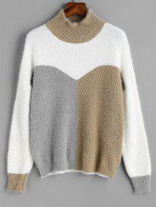 Suéter De Cuello Redondo De Color Morado Con Textura - Blanco