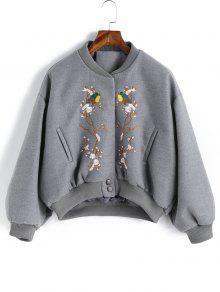 Casaco De Blusa De Lã Bordada - Cinza