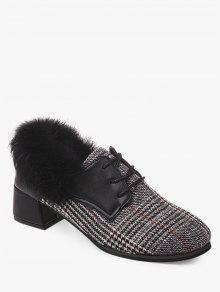 حذاء الكاحل من القماش مربع النقش والفرو ذو كعب عريض - رمادي 38