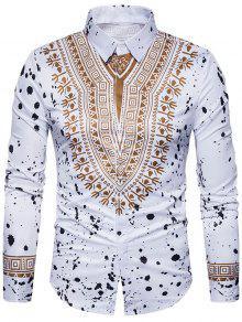 العرقية هندسية رشاش الطلاء طباعة قميص - أبيض L