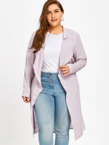 معطف الحجم الكبير مربوط طية الصدر - شاحب اللون رمادي Xl