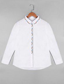 Chemise Brodée à Fleurs à Manches Longues - Blanc