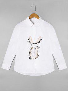 Chemise à Manches Longues Brodée - Blanc