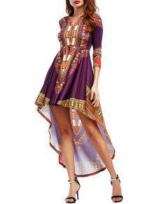 القبلية طباعة عالية منخفضة فستان ماكسي حزب - أحمر أرجوانى S
