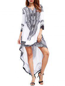 القبلية طباعة عالية منخفضة فستان ماكسي حزب - أبيض L