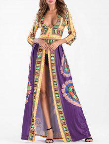 تغرق العنق القبلية طباعة عالية الشق فستان ماكسي - أرجواني Xl