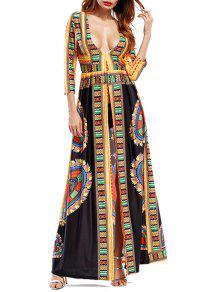 تغرق العنق القبلية طباعة عالية الشق فستان ماكسي - أسود L
