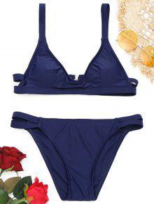 Ensemble De Bikini Paddé à Bretelles à Col Rond  - Bleu Violet M