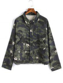 Camouflage Jacke Mit Druckknopf - Bundeswehrgrün S