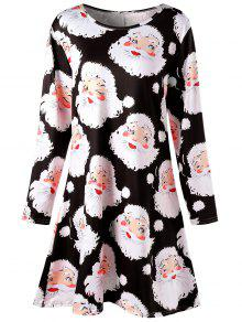 Buy Plus Size Santa Claus Print Mini Swing Dress - BLACK 5XL