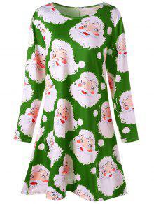 Buy Plus Size Santa Claus Print Mini Swing Dress - GREEN XL