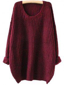 Buy Drop Shoulder Longline Chunky Sweater - WINE RED ONE SIZE