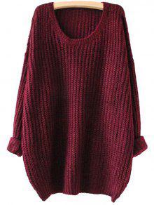 Drop Shoulder Longline Chunky Sweater – Wine Red