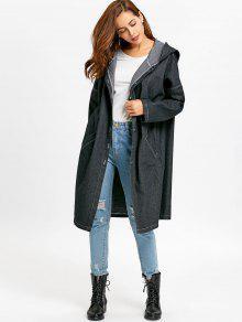 Oversized Button Up Hooded Denim Coat BLACK: Jackets & Coats ONE ...