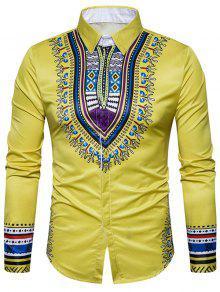 هندسي وطني طباعة طويلة الأكمام قميص - الأصفر 3xl