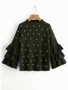 Buy Layered Sleeve Faux Pearls Sweater - ARMY GREEN ONE SIZE